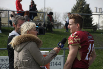 QB Dominik Hecht beim Interview