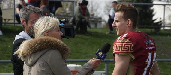 QB Dominik Hecht beim Interview